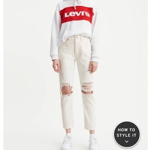 Levi 501 Original Cropped White Jeans Distressed